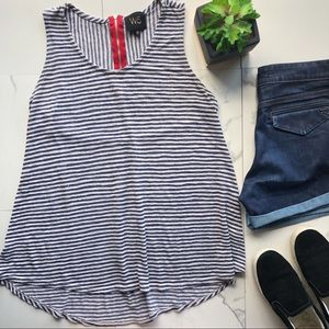 W5 Anthropologie Blue And White Striped Tank Top